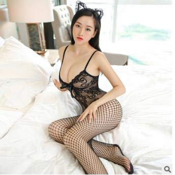 8d3a01c8f0484 Amazon.com  Dinfoger Women Sexy Cutout Fishnet Mesh Bodysuit