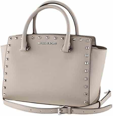 Michael Kors Selma Stud Medium Saffiano Leather Satchel Bag Cement