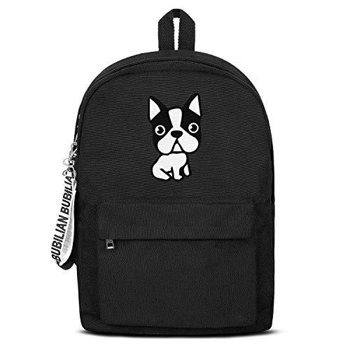 Puppy Dog Boston Terrier French Bulldog Women Men Water Resistant Black Canvas School Backpack Travel Backpack ()