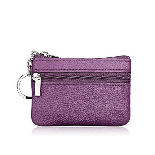 Men Women Kids Card Coin Key Holder Zip Genuine Leather Wallet Pouch Bag Purse (Color - Purple)