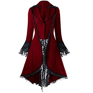 CBTLVSN Women's Gothic Vintage Steampunk Tuxedo Bandage LaceVictorian Trench Coat