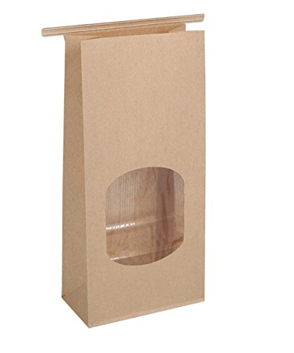 BagDream Bakery Bags with Window Kraft Paper Bags 100pcs 4.5x2.36x9.6