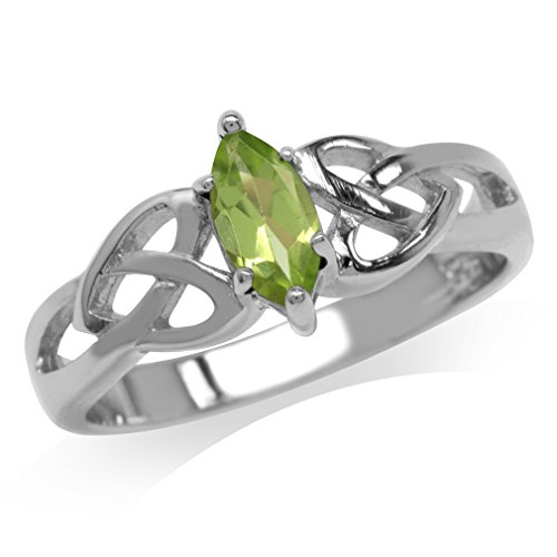 Natural Peridot 925 Sterling Silver Celtic Knot Heart Ring Size 6 (Celtic Peridot Knot)