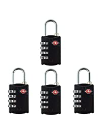 Newtion Tsa Lock 4 Digit Combination for Luggage Suitcase Security TSA Approved Padlock 1&2&4 pack (BLACK*4)