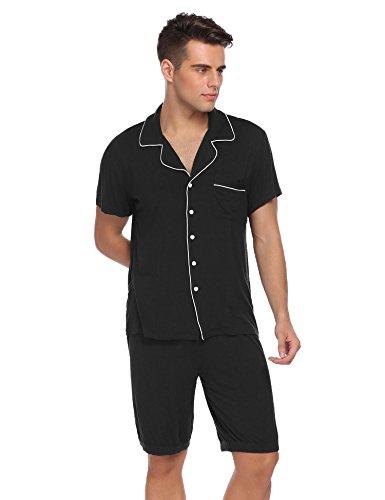 (Ekouaer Pajamas-Mens Cotton Sleepwear Short Button-Down Nighties Soft PJ Sets Mens Leisure Household Life XS-XXL.)