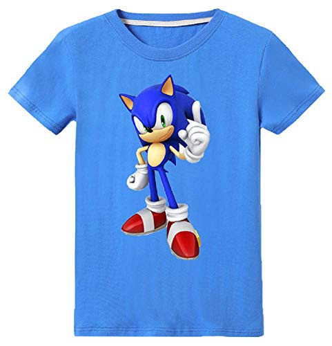 Indepence Life Toddler's 100% Cotton Cool Sonic The Hedgehog Style T-Shirt Youth Boys Girls Short Sleeve Cartoon Tee(Blue, -