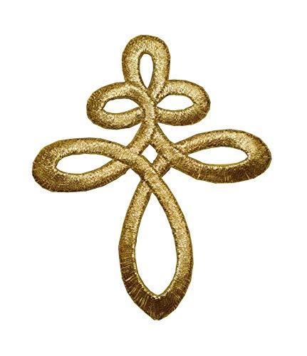 Trim Knot Celtic (Embroidery Iron On Applique Patch Gold Trim Fringe Celtic Knot)