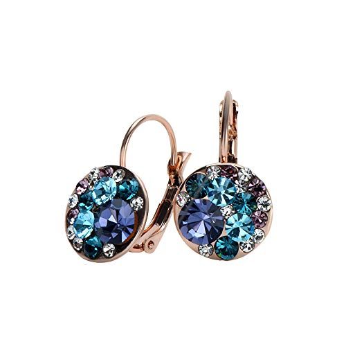 UPSERA Colorful Dangle Leverback Earrings for Women Made with Swarovski Crystals 18k Rose Gold or Silver Tone Plated Fashion Drop Jewelry Gift for Her Blue ()