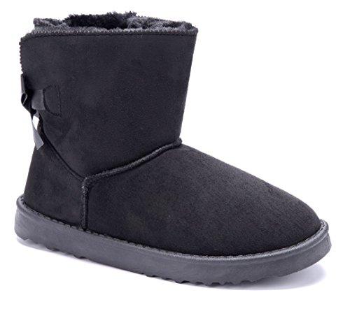 09a034fdc368a4 Schuhtempel24 Damen Schuhe Winterstiefeletten Stiefel Boots Flach  Zierschleife Schlupf Emu Schwarz