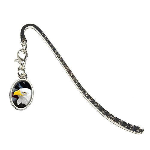 American Bald Eagle - Flag USA Patriotic Metal Bookmark Page Marker with Oval Charm