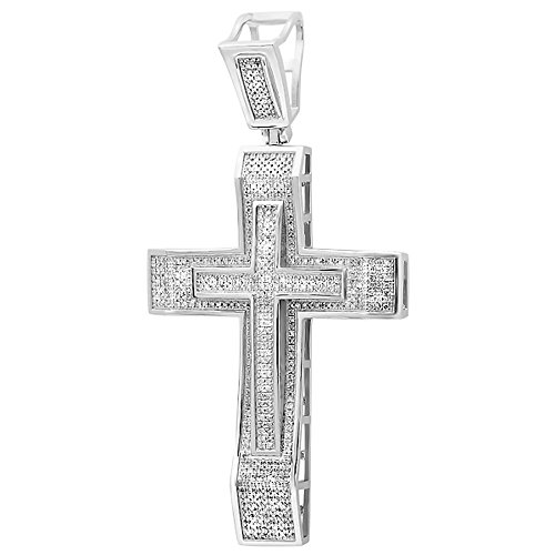 2.00 Carat (ctw) Sterling Silver Round Cut White Diamond Men's Hip Hop Religious Cross Pendant 2 CT by DazzlingRock Collection