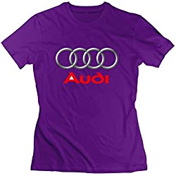 Small Casual Purple T-shirt For Women Cotton Lightweight Cars Tuning Audi