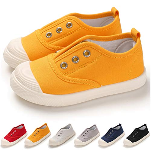 Toddler Kids Boys Girls Canvas Slip On Shoes Lightweight Casual Sneakers School Runing Tennis Shoes, 8.5 Toddler, 02 Yellow Toddler Shoes