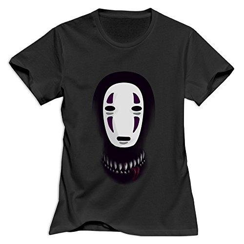 Yisw Women Spirited Away No Face Faceless What Lies Beneath Mask T-Shirt L Black Unique Novelty T-Shirt