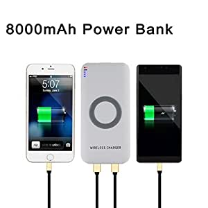 Iuhan Portable External USB Power Bank 8000mAh & Wireless Charger 2 in 1 For Iphone X (White)