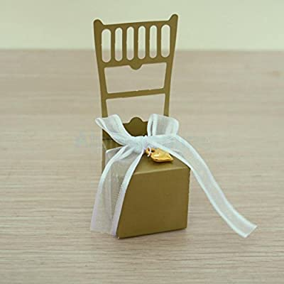 50x Cute Golden hollow Chair Shape Candy Chocolate Gift Boxes Wedding Favor