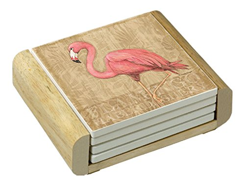 Counter Art Absorbent Coasters Flamingo At Rest In Wooden Holder, Set of 4