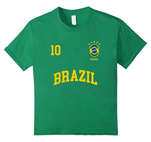 Kids Brazil T-Shirt Number 10 Brazilian Soccer Team Sports Shirt 8 Kelly Green