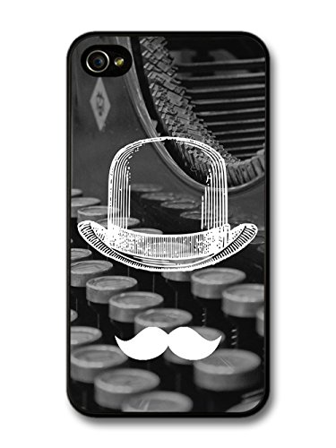 Cool Funny Cute Moustache Bowler Hat Typewriter case for iPhone 4 4S