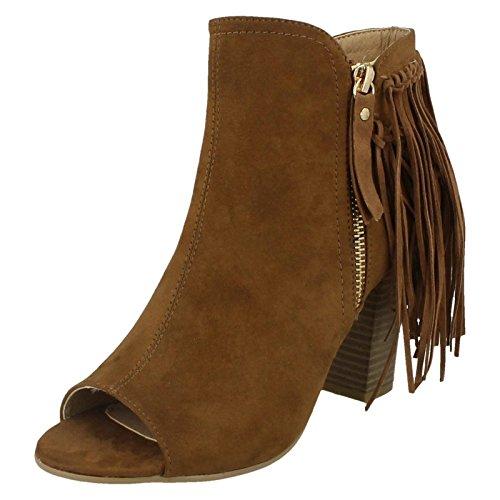 Damen Spot On Zip Up Boot mit Quaste Detail. Hellbraun