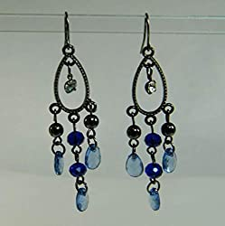 Blue Black & White Crystals Overlay Long Earrings