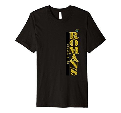 Mens Romans 8:28 Christian T-Shirt - Premium Quality Large Black