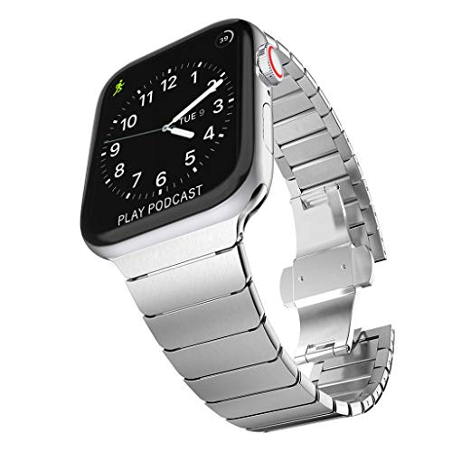 - Surace Stainless Steel Link Bracelet Replacement for Apple Watch Series 4 40mm Band with Butterfly Folding Clasp Compatible for Apple Watch 38mm Series 3 Series 2 Series 1, Silver