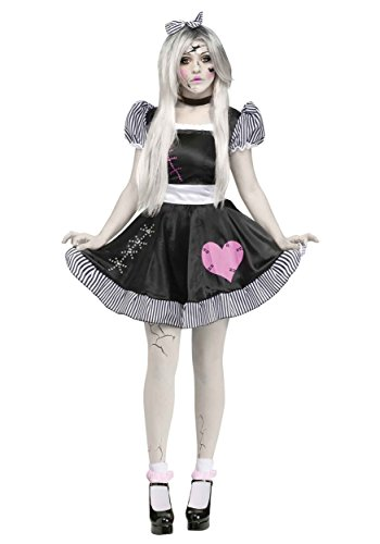 Black With Bows Footless Tights - Fun World Costumes Women's Broken Doll Adult Costume, Black/White, Medium/Large