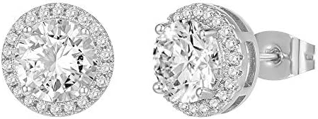 PAVOI 14K Gold Plated Sterling Silver Post Brilliant Round Faux Diamond Halo Earrings - Premium Cubic Zirconia in Rose Gold, White Gold and Yellow Gold