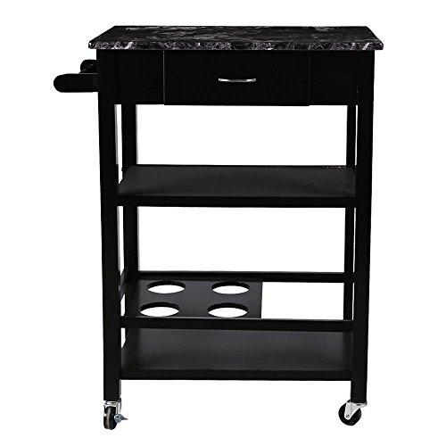 Topeakmart Kitchen - Cart Buffet Serving Cart, Black Finish by Topeakmart
