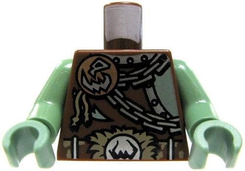 LEGO LOOSE Brown Torso Bronze Disc with Skull Motif, Silver Chains Fur-Lined Buckle (Disc Silver Lined)
