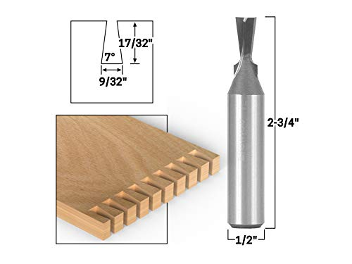 Carbide Dovetail Bit Tipped (Yonico 14810 7° X 9/32-Inch Dovetail Router Bit 1/2-Inch Shank)