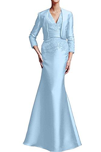 Neck Ivydressing Brautmutterkleid Promkleid Abendkleid 2017 Damen Applikation bodenlang aermellos V Neu Satin Etui mit Bolero Hellblau wpYwqr7ax