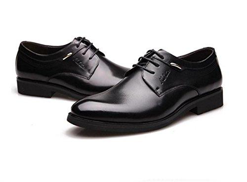 WZG zapatos de vestir de negocios de Nueva Inglaterra de los hombres, zapatos de los hombres para ayudar a los zapatos ocasionales de los zapatos planos del cordón de cuero redondo bajo 9 Black