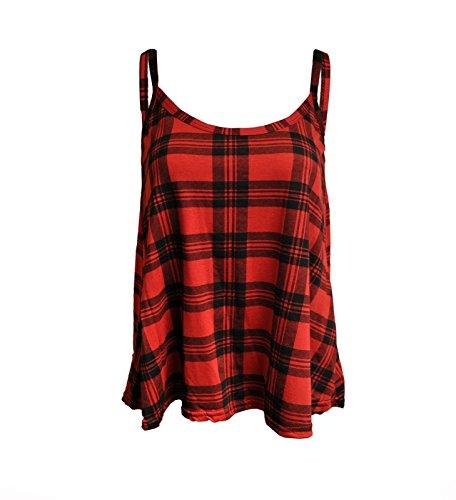 FashionMark Women's New Strappy Tartan Print Camisole Vest Top