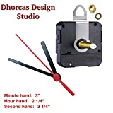 Dhorcas (#27) Black Plastic 3.5'' Hands, Quartz Clock Movement Kit for Replacement (1'' Thread Motor w/Hanger)