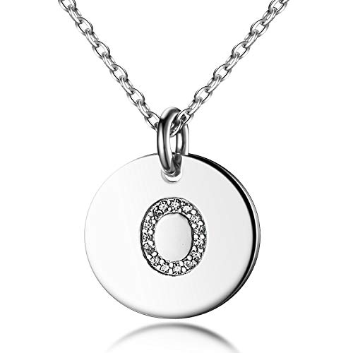 Tiny Disc Initial Necklace S925 Sterling Silver Letters O Alphabet Pendant Necklace