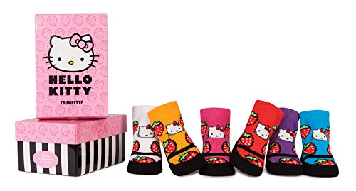 (Trumpette Baby Girls Sock Set-6 Pairs, Hello Kitty Strawberry - Assorted Colors, 0-12 Months)