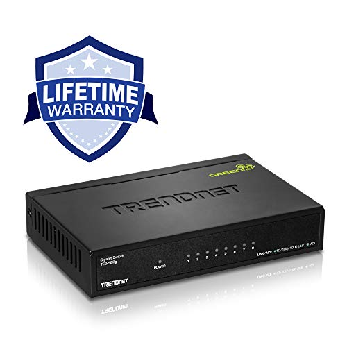 Capacity Metal - TRENDnet 8-Port Gigabit GREENnet Switch, Ethernet Splitter, Ethernet/Network Switch, 8 x 10/100/1000 Mbps Gigabit Ethernet Ports,16 Gbps Switching Capacity, Metal, Lifetime Protection, TEG-S82G