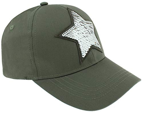 Capelli New York Ladies Star Baseball Hat With Reversible Sequins Patch Detail Olive One Size