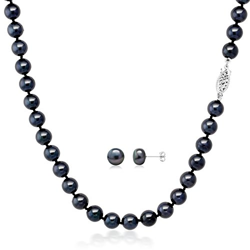 Gem Stone King Black Cultured Freshwater Pearl Necklace and Earring Set In 14K White - Cultured Pearl Necklace Peach