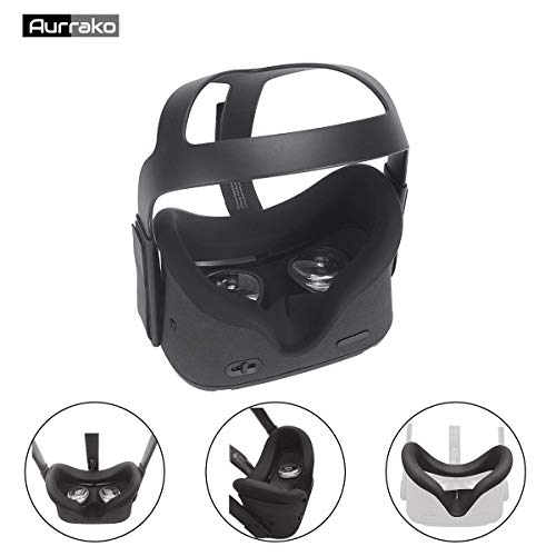 Aurrako Vr Face Pad for Oculus Quest VR Headset Accessories, Silicone Face Cover Mask Easy Wipe Clean Sweatproof Light Block (Black)