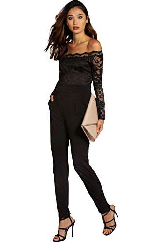 Boohoo Women's Scallop Lace Jumpsuit S Black from Boohoo