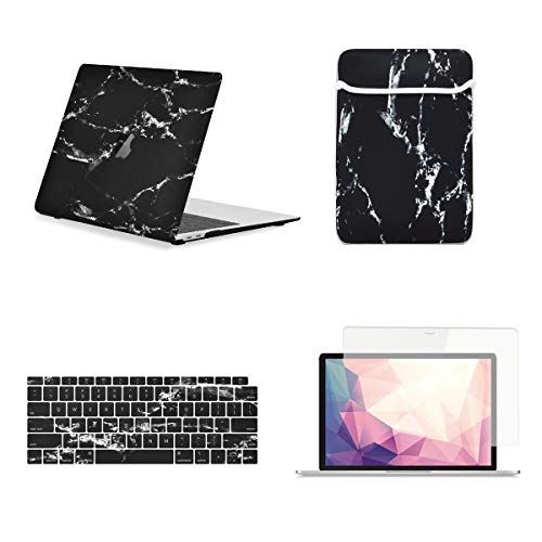 TOP CASE 4 in 1 - Marble Pattern Matte Hard Case, Keyboard Cover, Sleeve, Screen Protector Compatible with 2018 Release MacBook Air 13