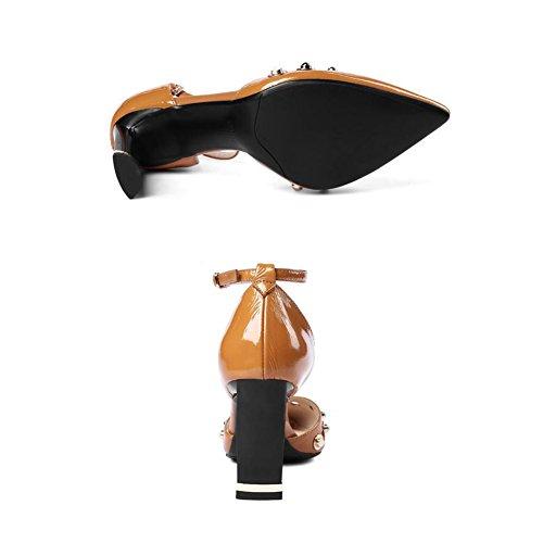 De Ly 5 Sandales Mince 8 taille Décoration Talons Caramel UK6 DALL 39 Et Chaussures Métal Été Hauts CN Couleur Femmes Pour Noir Cm Talons 679 EU Haut Escarpins Color Printemps En 39 5zUOxR