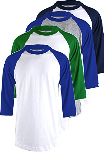 Ollie Arnes Men's Basic Crewneck 3/4 Sleeve Cotton T-Shirt Raglan Baseball Top WHGRN_WHRBLU_LTGRBLU_WHNAV L