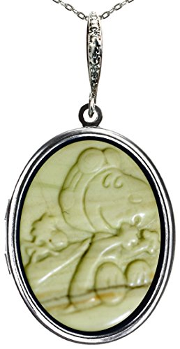 Photo Locket Necklace Pictures Memories Pendant 2 Chains Gift Jewelry (Snoopy Carving Natural Gemstone)