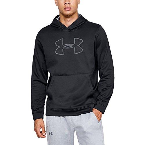 (Under Armour Men's Performance Fleece Graphic Hoodie, Black (001)/Steel, Medium)