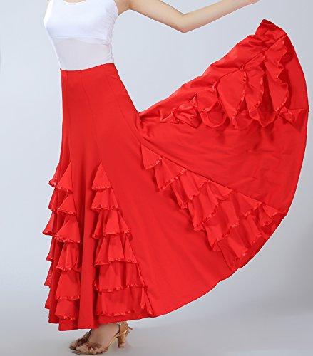 Gruppo Di Gonna Volant Sala Di Ballerini Flamenco Nero Usura Della Lunga Ballo Rossa Da Costume Squadra Pratica TRtwTx