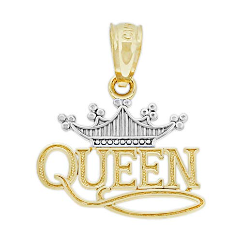 (Charm America - Gold Queen with Tiara Charm - 14 Karat Solid Gold)